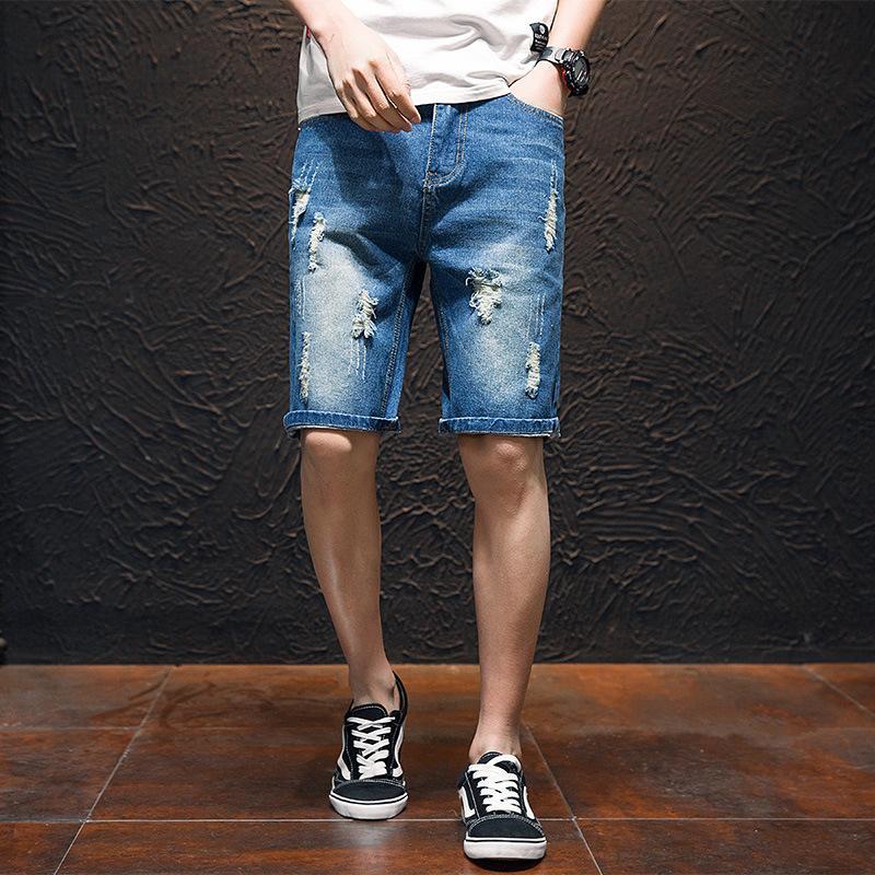 Breve 2019 Men Style nuova estate dei jeans con fori di bicchierini di modo coreano in stile fresco bello Shorts