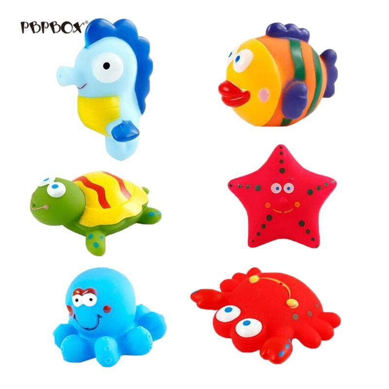 6pcs 오션 라이프 크리 에이 티브 귀여운 목욕 장난감 세트 워터 장난감 아기 신생아 유아위한 아름 다운 장난감