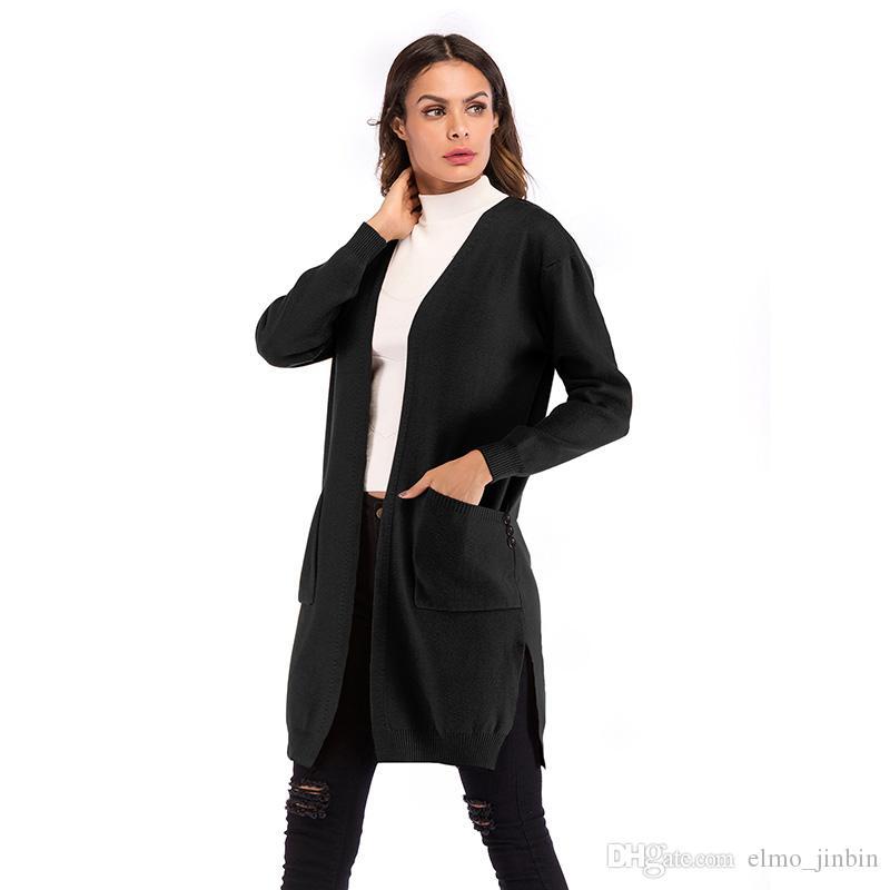 أزرار سترة طويلة النساء محبوك سترة صوفية طويلة الأكمام معطف خريف شتاء 2019 أزياء صداري السيدات YY5858