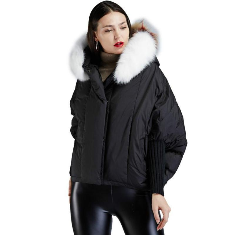 90% duck down coat 2019 fashion brand female winter bat sleeve down jacket luxury large fur collar thicker warm coat