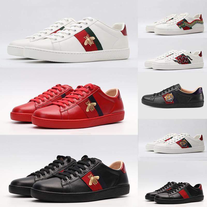2020 zapatos de cuero abeja Rojo Negro Blanco Zapatos Casual ACE zapatillas de deporte para los hombres de las mujeres del zapato de la estrella de Navidad de la serpiente tigre planas Bottoms formadores de vestir