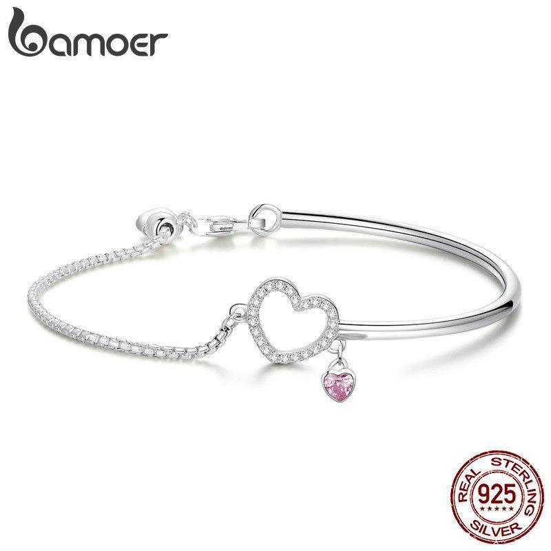 Bamoer Romantik Yeni 100% 925 Ayar Gümüş Kalp Pembe Cz Zincir Bağlantı Bilezik Kadınlar Için Bilezikler Gümüş Takı Scb117 J 190429