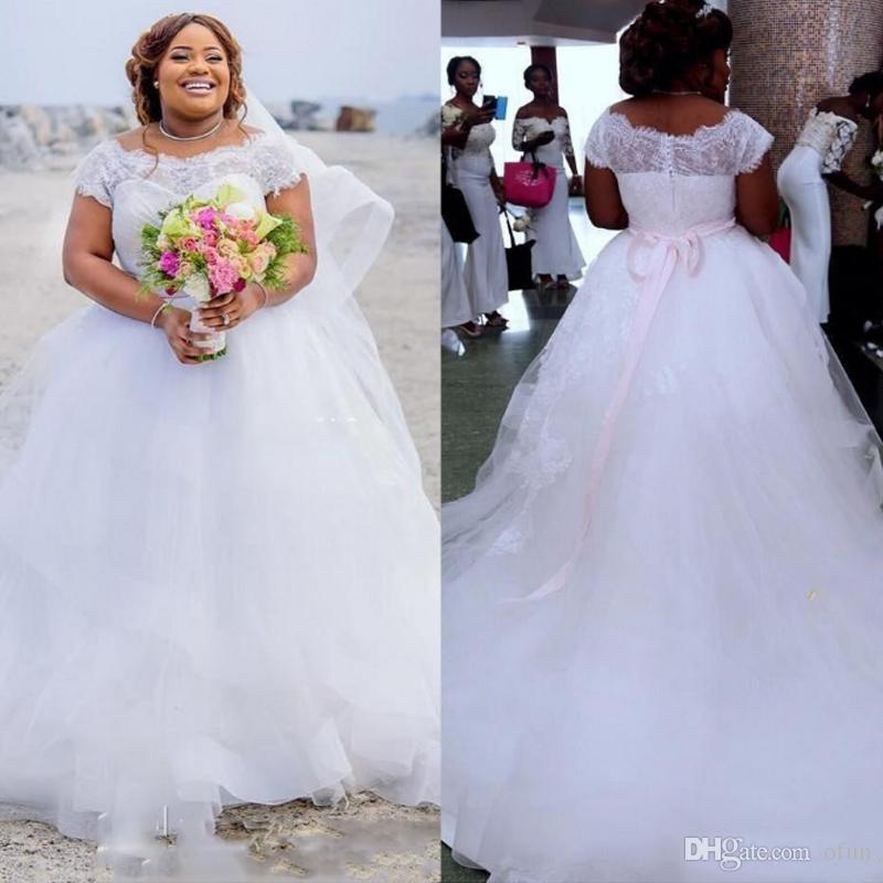 Plus Size Lace Ball Gown Wedding Dresses Long Train Appliqued Short Sleeve  Bridal Gowns Modest Country Cheap Wedding Dress Gown Dresses Short Formal  ...