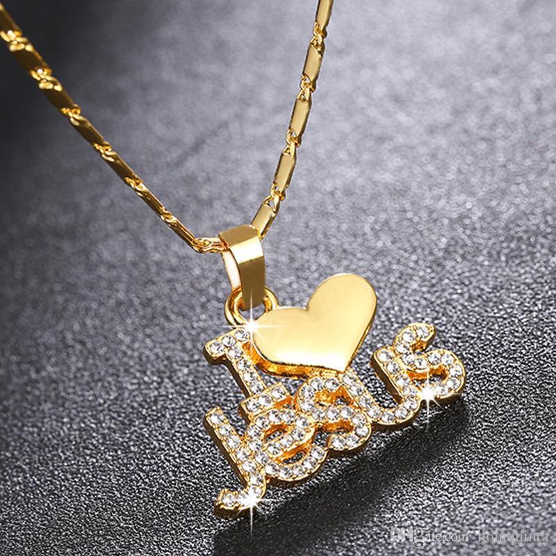Mode religieux I Love Jesus collier pendentif pour les femmes d'or / argent / rose accessoires or bijoux Christian cadeau
