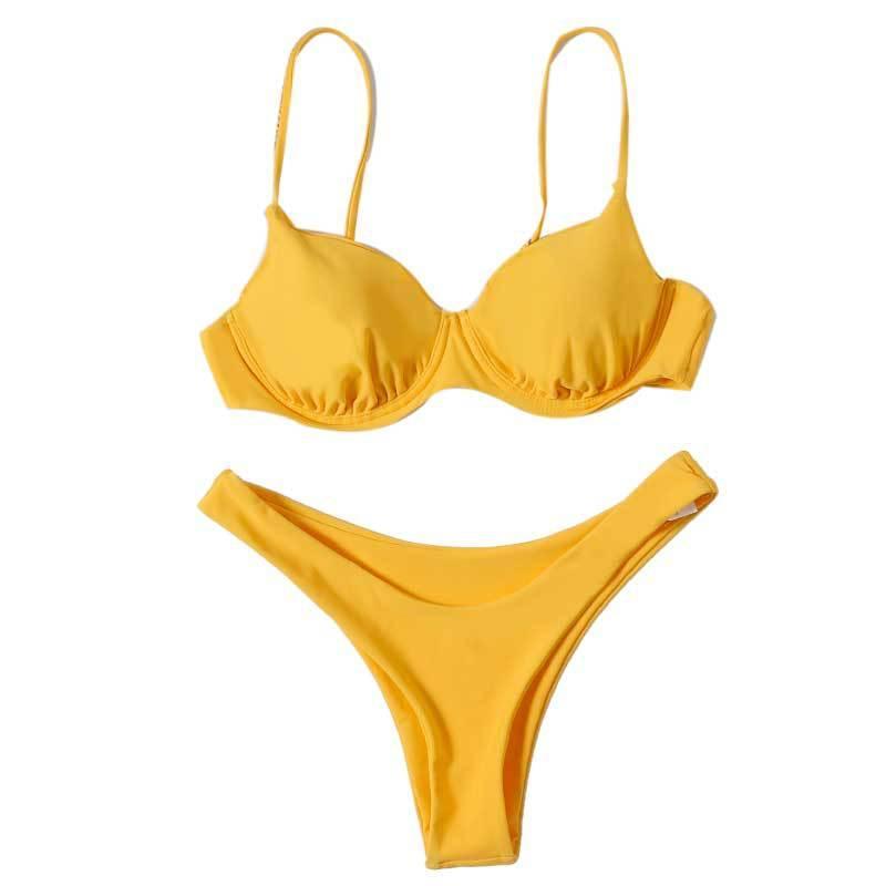 Womens Sexy Bikini Tube Bikini Swimsuit Women Swimwear Solid Color Bikini Set Bathing Suits Beach Wear