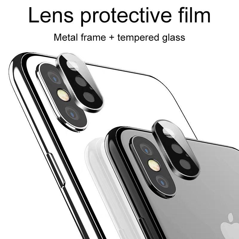 Caso posteriore protezione per lo schermo della fotocamera Lens iphone XS MAX XR X 3D posteriore dell'anello del metallo di vetro temperata della pellicola protettiva di copertura con il pacchetto