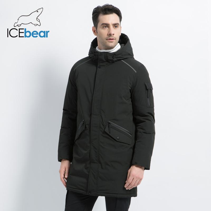 İcebear 2019 yeni yüksek kaliteli palto basit gündelik ceket tasarımı erkekler sıcak kapüşonlu marka moda parkas ceketler MWD18718D LY191225