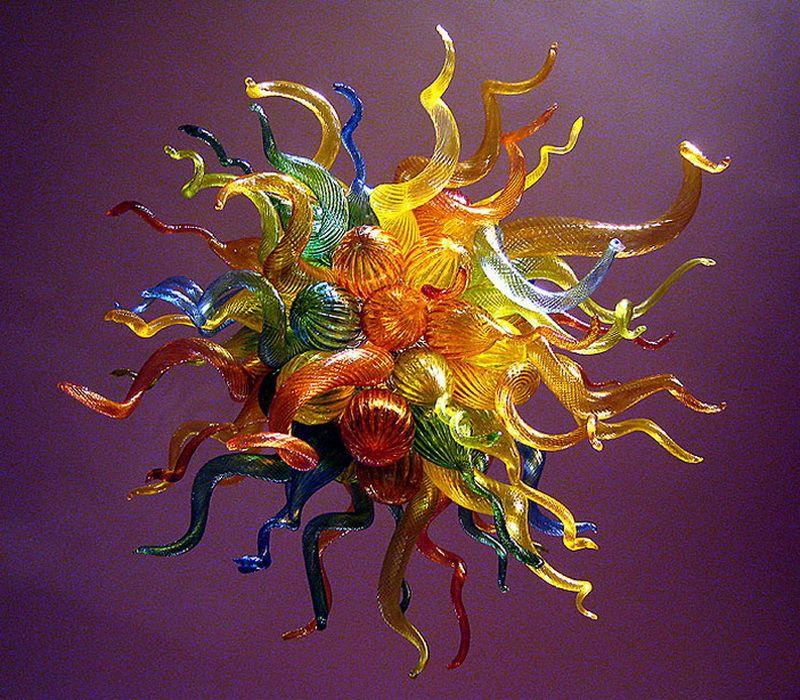 Multicolor decoración del arte de cristal de Murano fuente de luz LED 100% de la mano de vidrio soplado Chihuly Lámparas de techo de la vendimia de la decoración