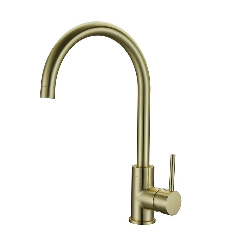 High Quality Brass Classic Gooseneck Single Lever 1-Hole Kitchen Sink Faucet Mixer Tap Brushed Gold Finish