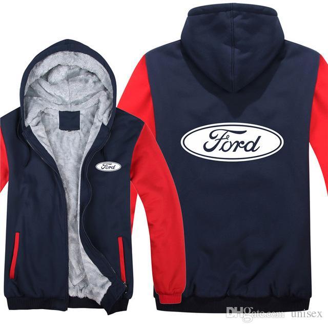 Форд толстовки зимняя куртка Мужчины Женщины унисекс свободного покроя шерсть лайнер пальто человек пальто автомобиля логотип печать толстовки пуловер одежда