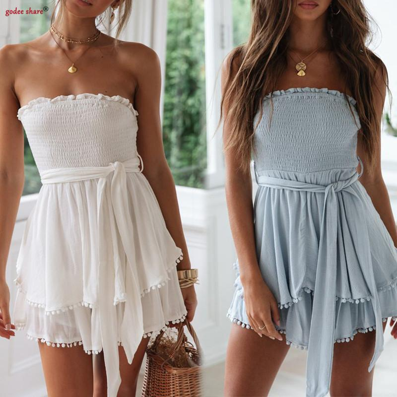Sexy Wrap Chest Woman Playsuit Slash Neck Sleeveless Linen Drawstring Summer Rompers Female Playsuits Ruffles Women Clothes Y19071801