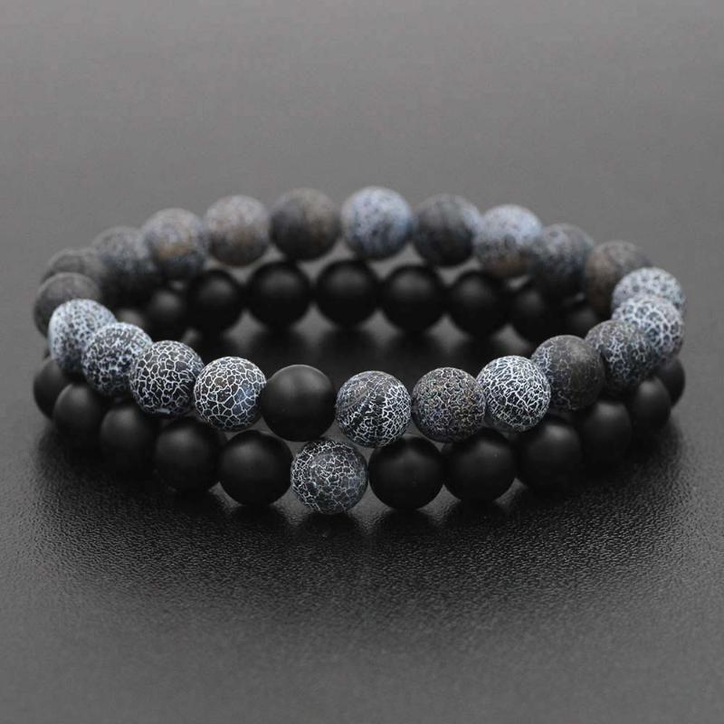 8 milímetros preto clássico Natural Lava Pedra Bead Bracelet para as Mulheres Homens Casais Distância Bracelet Energia Elastic Rope Malaquita Jóias
