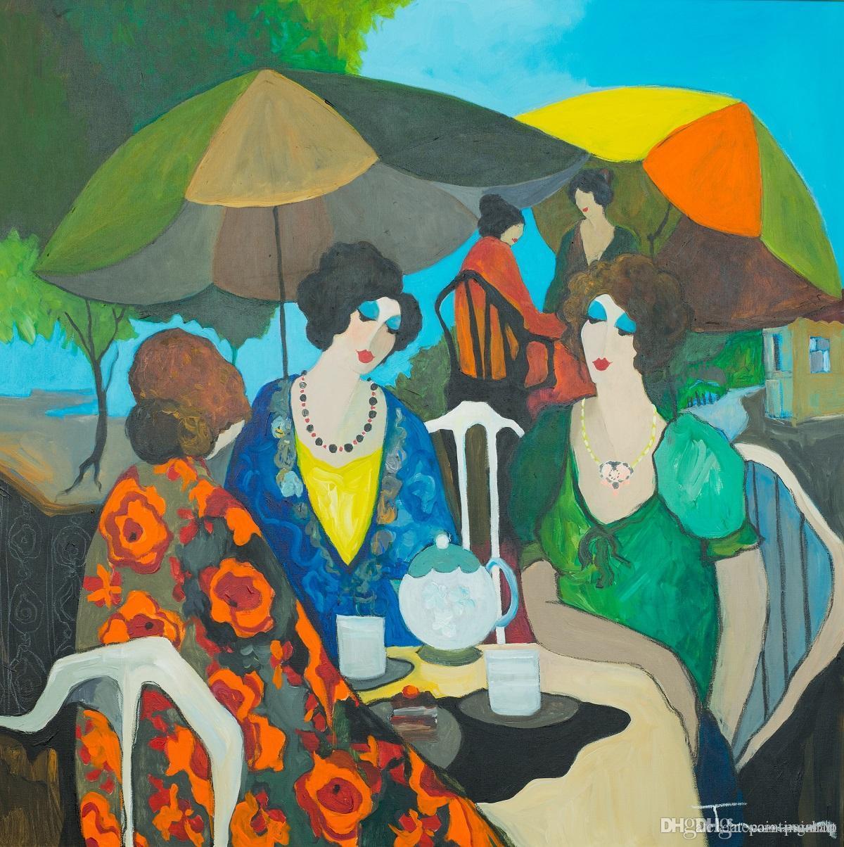 Itzchak Tarkay Figuration Accueil Oeuvres Senhora moderne Portrait peinture à l'huile sur toile et Convex Texture Concave IT149