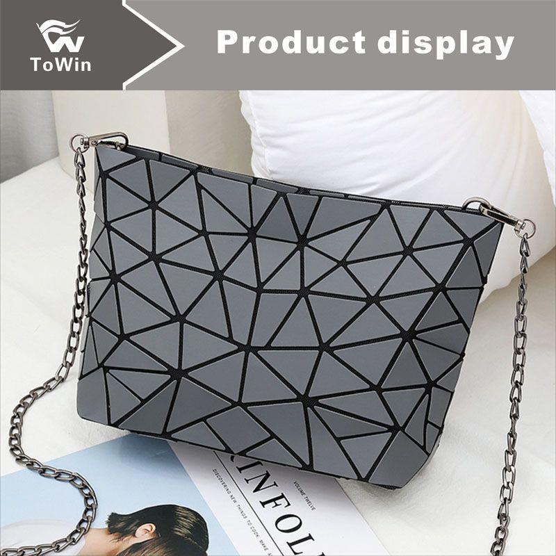 Nuevo diseño de los bolsos de hombro de cuero de la PU de la cadena de asas casual bolsas de mensajero de las mujeres de la PU Houlder bolso de cuero damas bolsos crossbody geométricas