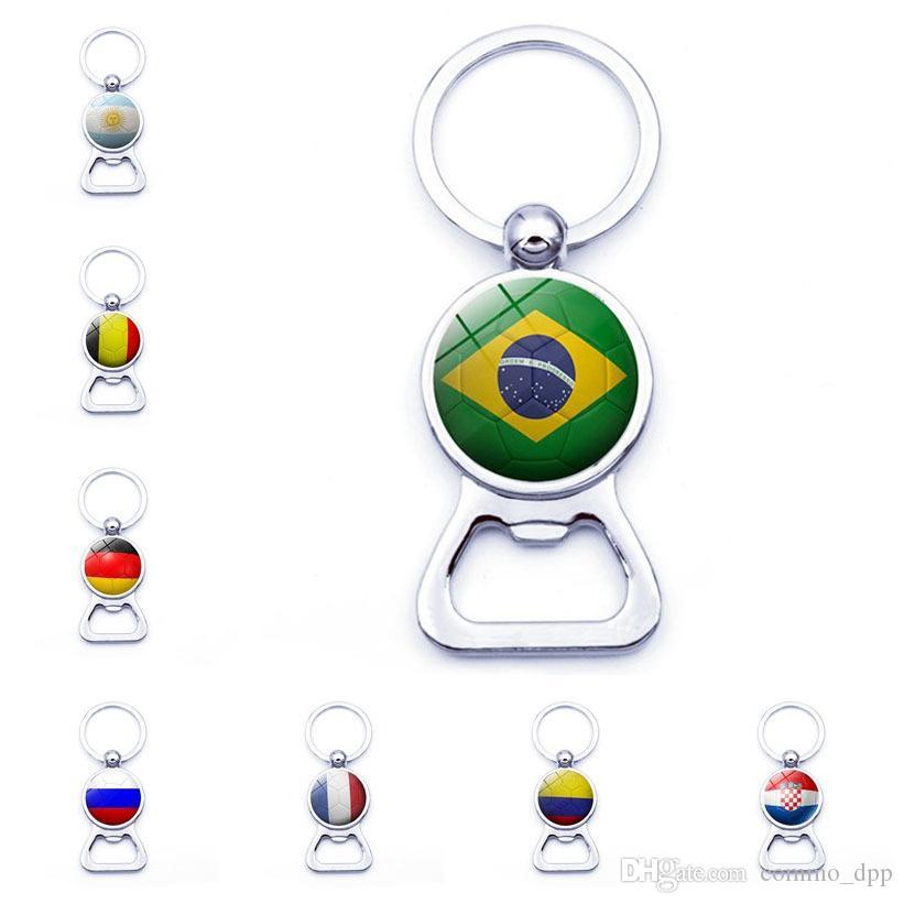 Anillos banderas de los países clave al fútbol con la botella de cerveza portátil aficionados al fútbol apertura de la Copa Mundial de la Llaveros llaveros joyas y accesorios de moda