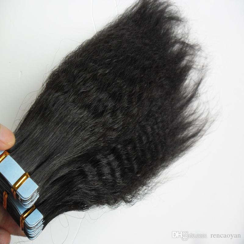기계 Remy 테이프 머리를 만든 100 % 인간의 머리카락 확장 40pcs 인간의 머리카락 확장에 거친 yaki 테이프 변태 스트레이트 버진 브라질
