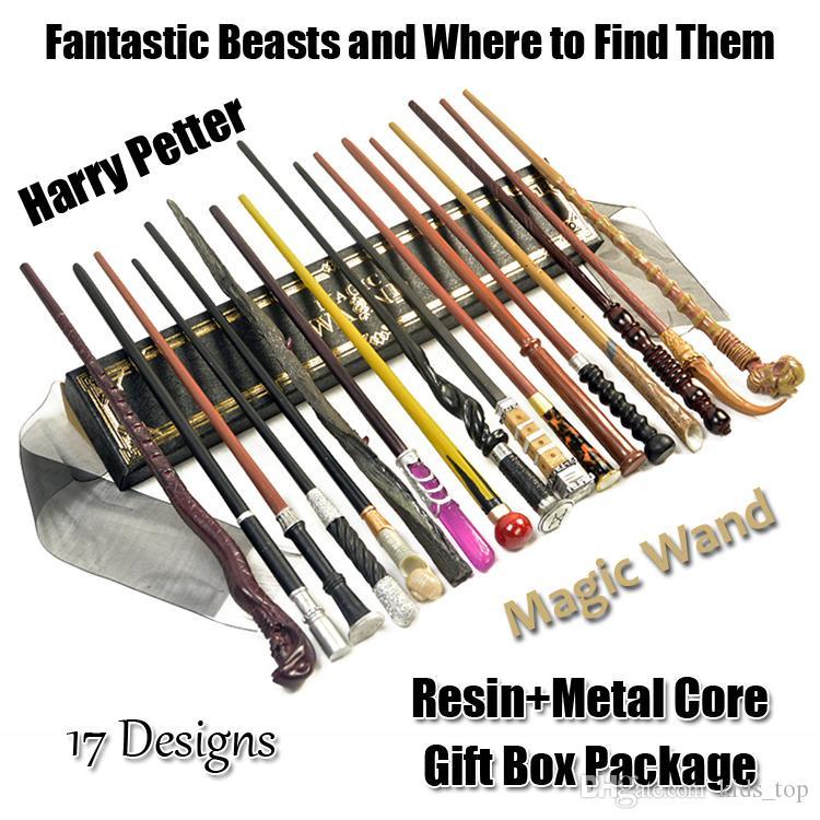 Harry Potter Animais Fantásticos Esculpido Metal Core varinha mágica Brinquedos Com Presente de Natal Presente Box Crianças Cosplay brinquedos para as crianças TTSS397