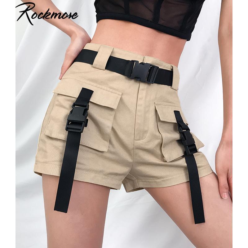 Rockmore Black High Waisted Shorts für Frauen-Band Buckle Punk Style kurze Hosen Harajuku Motobiker Shorts mit Taschen Sommer Y200512