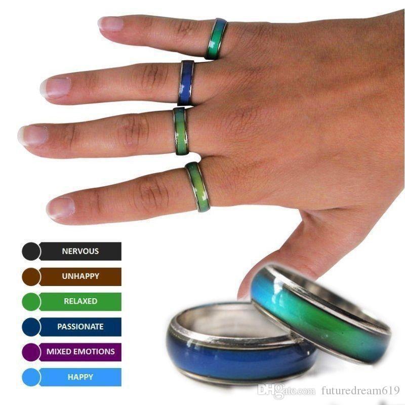 Venda quente anel de banda de tamanho mix humor muda de cor para a sua temperatura revelar sua emoção interior jóias moda barata