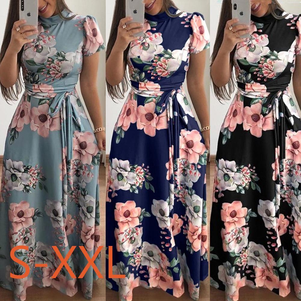 Yiwa Kadınlar Yaz Casual Müslüman Stil Çiçek Baskı Zarif Parti Düğün Plaj Giyim için Bandaj Uzun Elbise