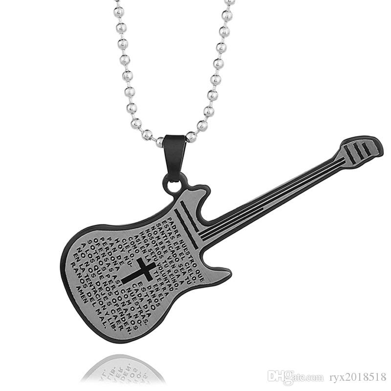 Designer Stainless Steel Guitar Necklaces Fashion Hip Hop Musical Instrument Pendant Necklaces for Women Men Gifts Party