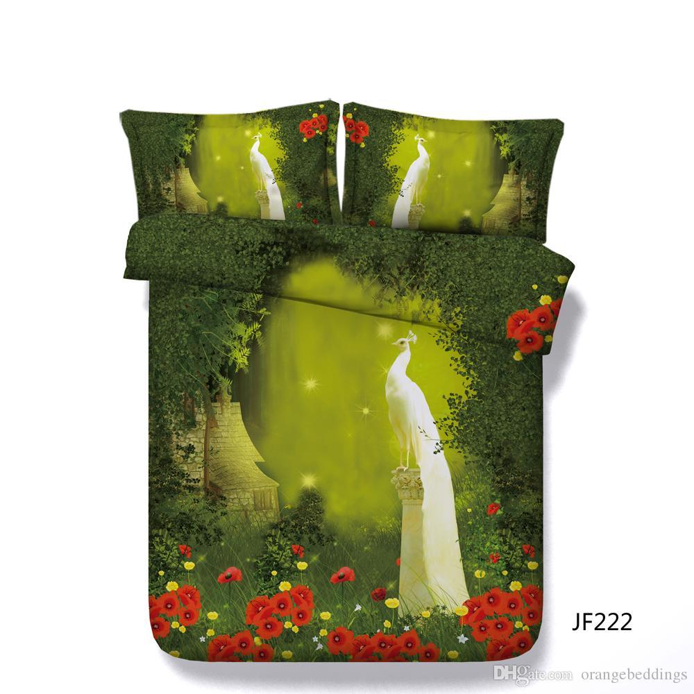 Floresta verde edredom conjunto de cama com 2 fronhas de pavão penas de pavão capa de edredão colcha para crianças adolescentes adultos flor de galhos de árvores