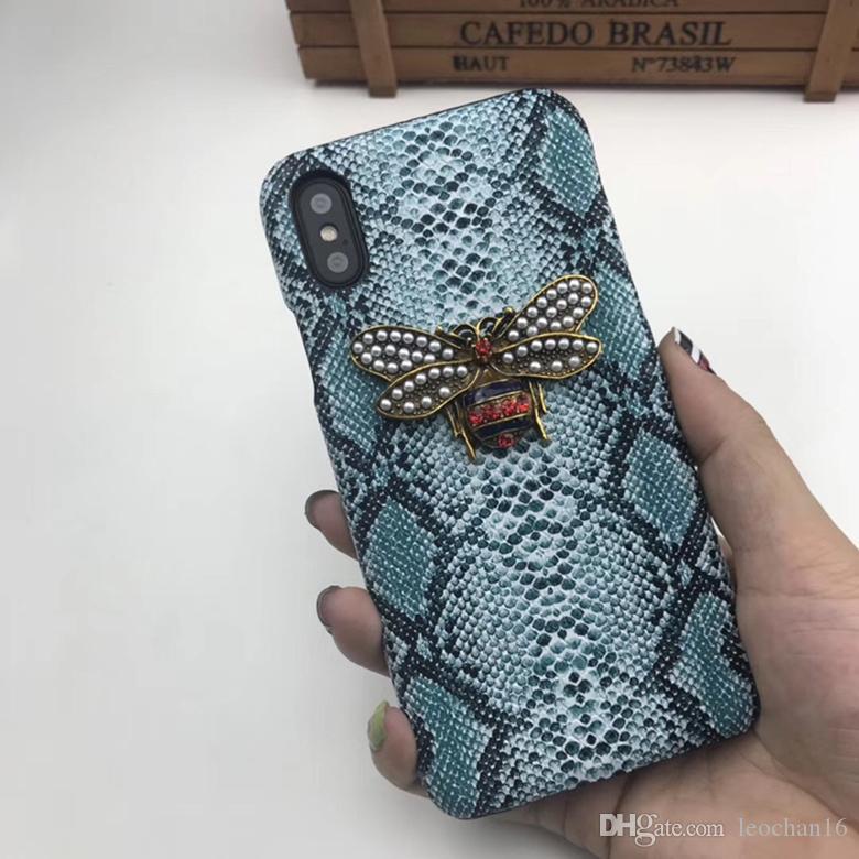 Moda Marka 3D Elmas Arı Yılan Baskı Deri Case Arka Hayvan Cilt Kılıfı Telefon Kapak iphone XS Max XR 6 s 7 Artı