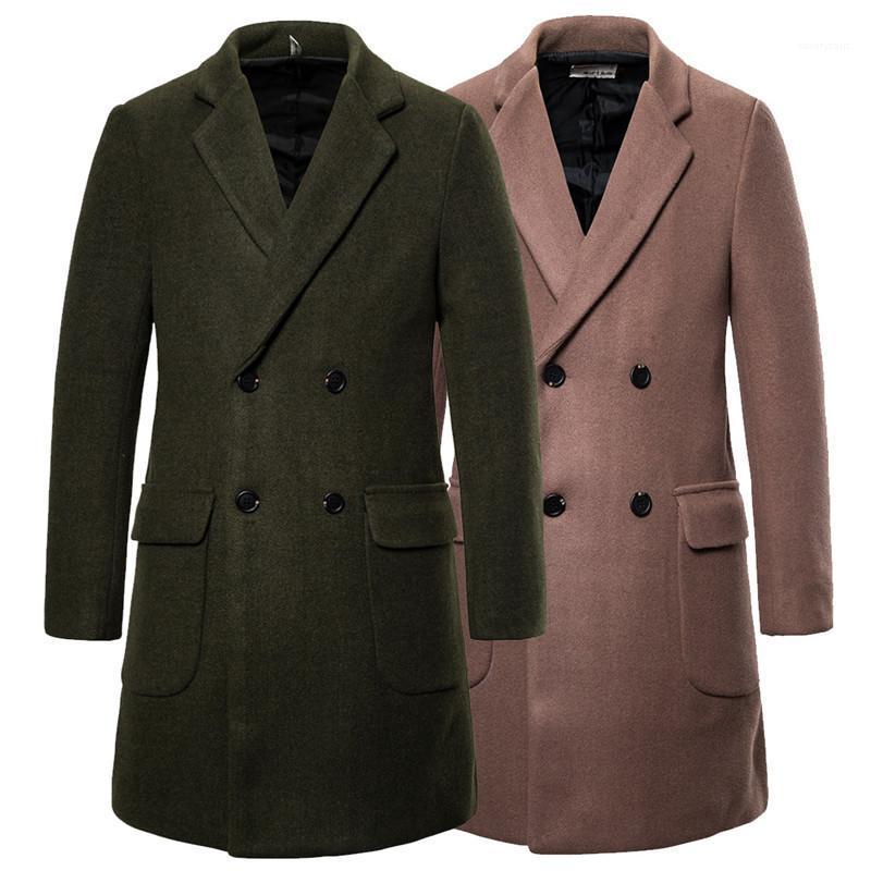 Estilos de moda a largo lujo para hombre Prendas de abrigo de invierno abrigo largo de lana doble de pecho chaqueta caliente del invierno