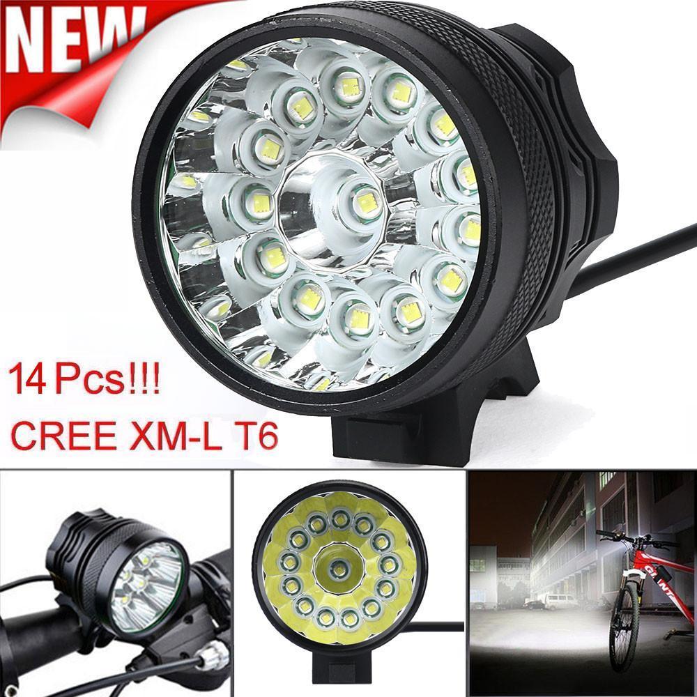 Fahrradfahrradscheinwerfer leuchten 34000 Lm 14x CREE T6 3 Modi Fahrradlampe Fahrrad-Licht-Scheinwerfer-Fahrrad-Fackel-LED