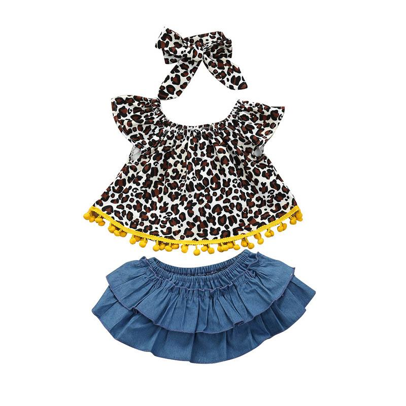 2020 new Summer Ins leopard print girls outfits baby girl clothes toddler suits Tops+denim Ruffle Shorts+ headband 3pcs/set B762