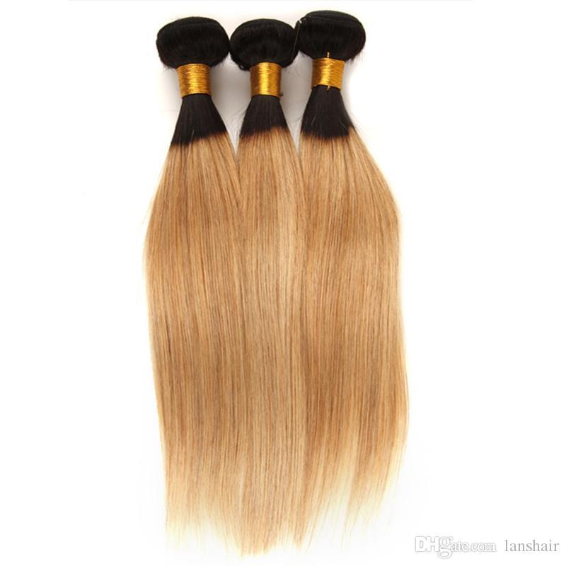 Brazilian Remy Hair Straight Human Hair Weave 3/4 Bundles Deal T1B 27 Ombre Blonde Peruvian Virgin Hair Straight Free Shipping