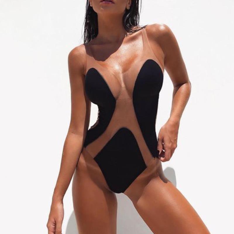 Seksi Perspektif Bikini Kadınlar Brezilyalı Tek Parça Mayolar Mesh Dikiş İnce Bodysuit Siyah Beyaz Kadın Yıkanma Suits