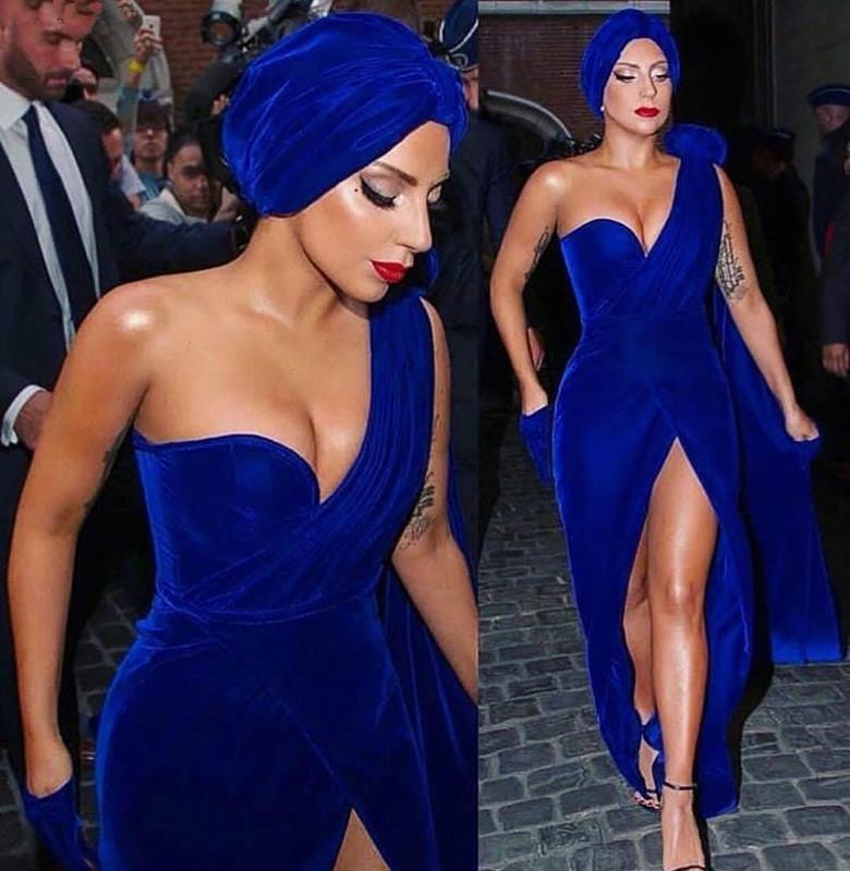 Royal Blue convenzionale della celebrità Abiti Guaina One-spalla Velluto fessura lungo sexy dei vestiti da sera famoso Red Carpet