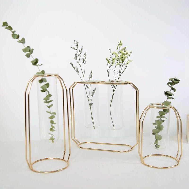 100% nouveau verre Pot de fleurs Fer Art Vase Test Tube suspendu en or rose Vases à fleurs Accueil Bureau Décoration bureau Pots de fleurs
