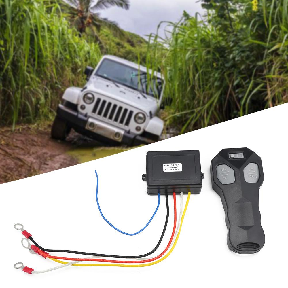 12V Universal Araç Akıllı Vinç Kablosuz Uzaktan Kumanda Anahtarı Seti Anti-Parazit İkiz Handset 30M Uzaktan Kumanda