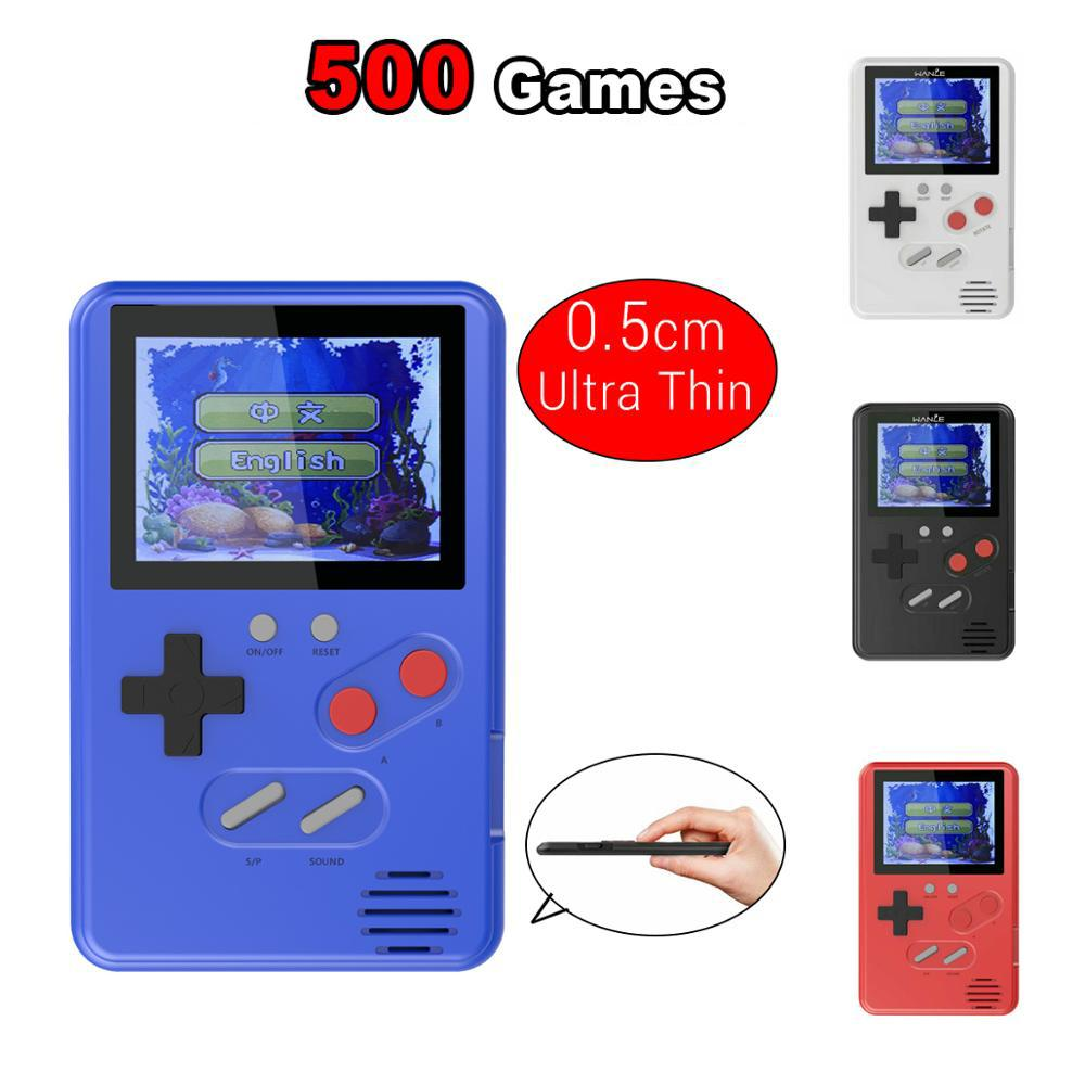 0.5cm Ultra-Thin consolas recuerdo de la infancia pantalla a color portátil Consolas de juegos portátiles 500-in-1 Video consolas de juegos