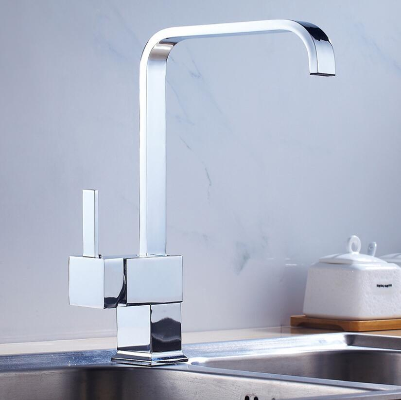 Brass Kitchen Sink Faucet Hot Cold Water Swivel Spout Square Mixer Basin Tap Bathroom Chrome Single Handle Hole Deck Mount