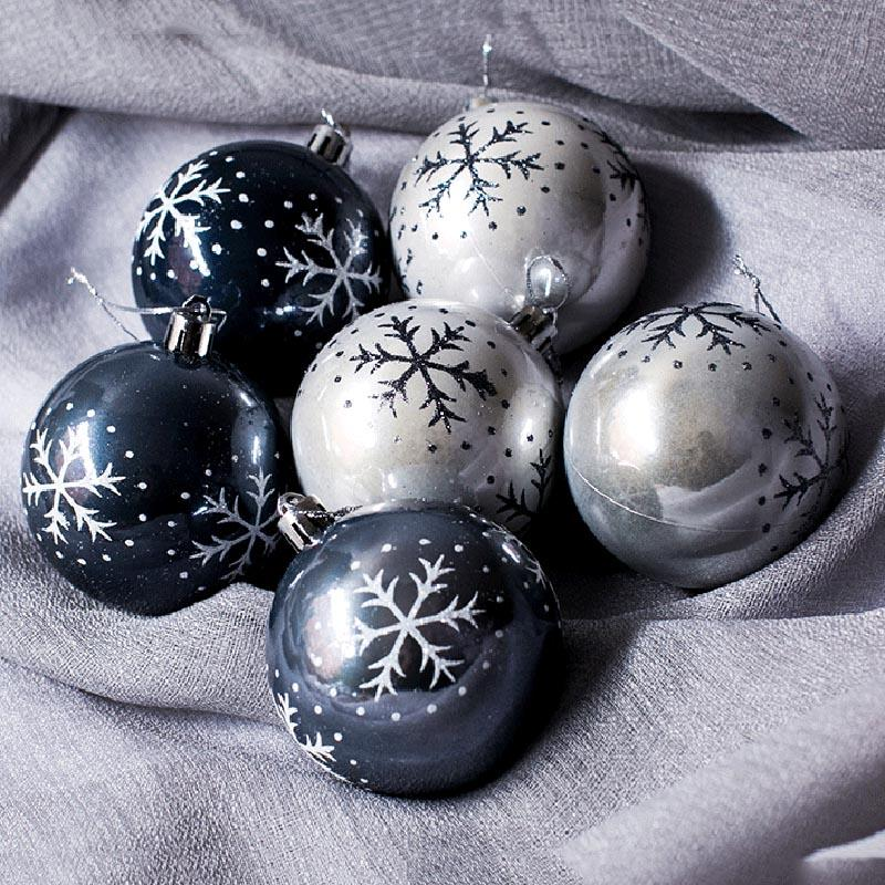 Newly 6 Pcs Snowflake Painted Balls Christmas Tree Ornaments Gift Plastic Ball Hanging Holiday Party Decor