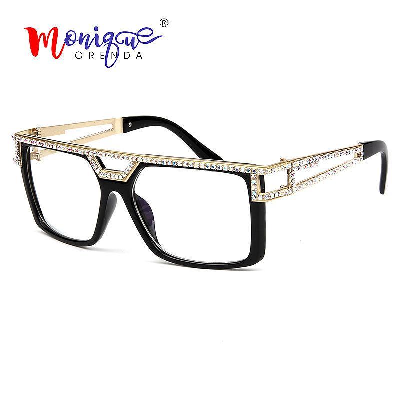2019 럭셔리 스퀘어 선글라스 여성 빈티지 작은 크리스탈 라인 석 썬 안경 남자 중공업 플랫 탑 안경 Oculos