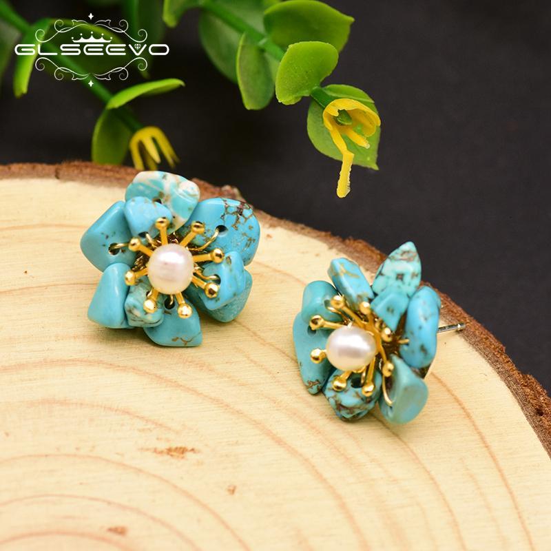 GLSEEVO citrino natural perla Stud Pendientes para las mujeres Regalo de cumpleaños 925 pendientes de la flor joyería fina GE0780B CJ191205