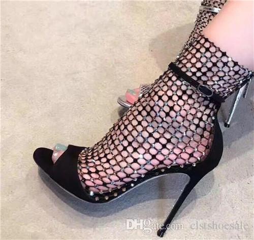 Mulheres Bling Bling Moda Peep Toe Malha de Strass Curto Botas de Salto Fino Cut-out Zipper-up Botas de Salto Alto Tornozelo