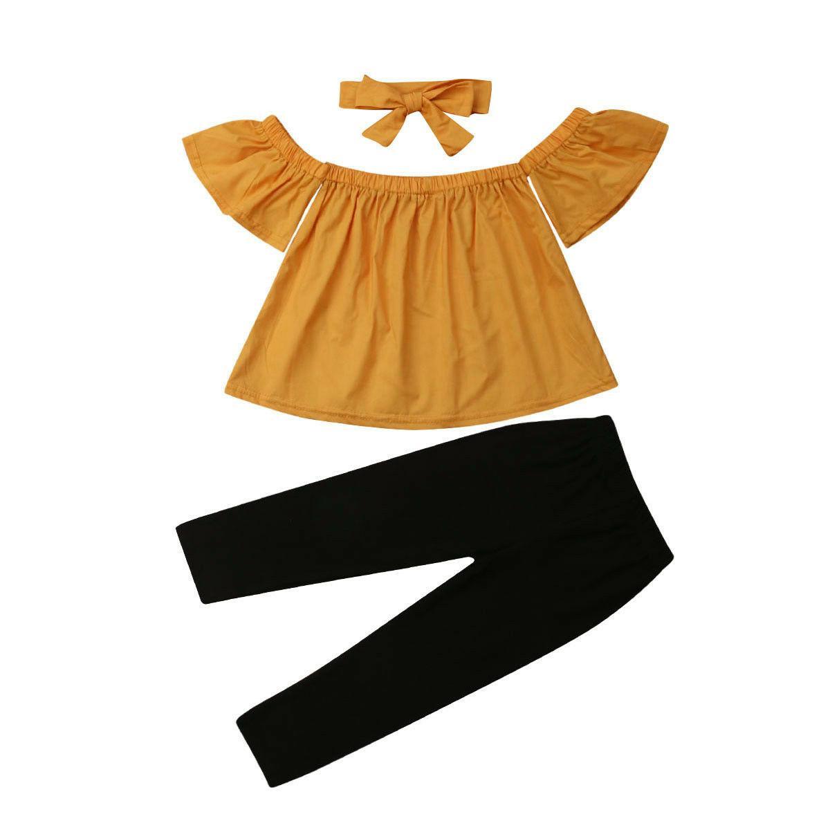 Yeni Pudcoco Çocuklar Bebek Kız Kıyafetler Katı Renk Kapalı omuz Çiçek Tank Gömlek Uzun Pantolon Bandı Moda Yaz Set Tops