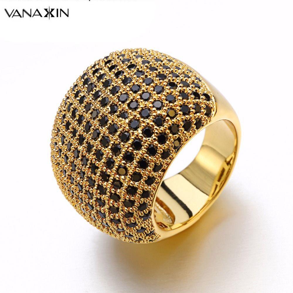 Vanaxin Pavimentou Anel Largo Branco Inlay Cz Homens de Alta Qualidade Anéis De Noivado De Cristal De Casamento Cristal Brilhante Anéis de Jóias Mulheres Presente J190715