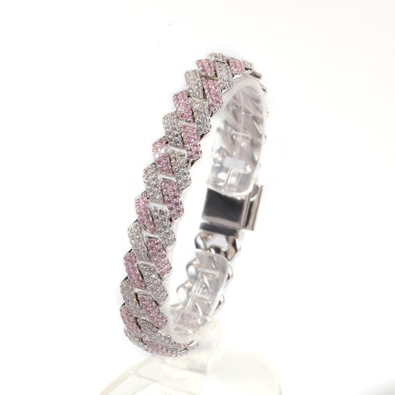 13mm Square Miami Cuban Bracelet Iced Out Pink Cubic Zirconia Chain Jewelry Men Box Clasp Drop Shipping