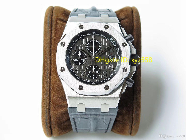 스포츠 크로노 그래프 남자 시계 Cal.3126 자동 회색 Dail 가죽 스트랩 방수 캘린더 스위스 손목 시계 브랜드 상자 빠른 익스프레스