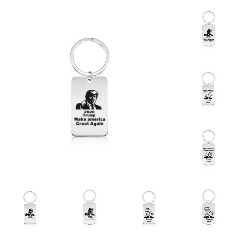 Freies DHL-8 Styles 2020 Donald Trump Keychain Edelstahl Schlüsselanhänger Halten Sie Amerika Große Anhänger Auto-Schlüssel-Halter Unisex Fashion Jewelry M542F