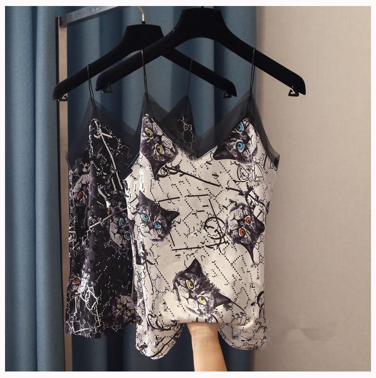 atractiva spagheti la impresión del gato de la correa linda con cuello en V de 2020 nuevas mujeres del chaleco de la camiseta de la moda de gasa suelta parcheado camisetas sin mangas de raso