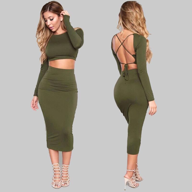 Sexy Bodycon vendaje vestido 2 piezas Set mujeres Crop Tops y Midi delgado lápiz falda Clubwear Outfit Tc98401010001 Y19042901