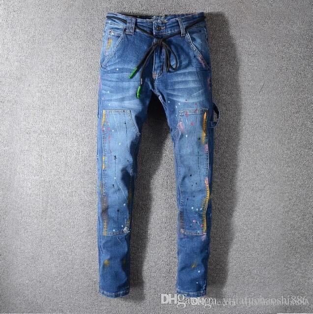 TOP Men's Ripped Skinny Jeans Fashion Designer Mens Jeans Slim Motorcycle Moto Biker Causal Mens Denim Pants Hip Hop Men Jeans European size
