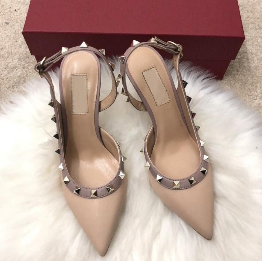 sandali 34-43 Moda nero nudo donne scarpe rosse di design di lusso inferiore rosso tacchi alti 8cm 10cm 6cm pelle la punta del piede pompe pattini di vestito